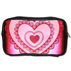 Heart Background Lace Toiletries Bags
