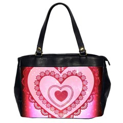 Heart Background Lace Office Handbags (2 Sides)