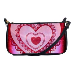 Heart Background Lace Shoulder Clutch Bags