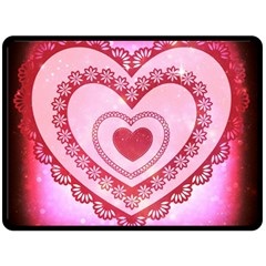 Heart Background Lace Fleece Blanket (Large)