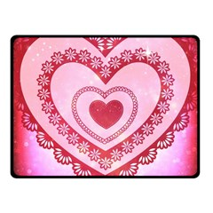 Heart Background Lace Fleece Blanket (Small)