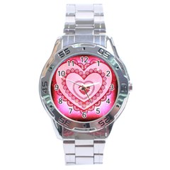 Heart Background Lace Stainless Steel Analogue Watch