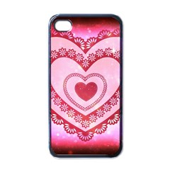 Heart Background Lace Apple iPhone 4 Case (Black)
