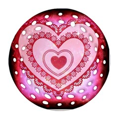 Heart Background Lace Round Filigree Ornament (Two Sides)