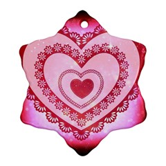 Heart Background Lace Snowflake Ornament (two Sides)