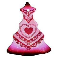Heart Background Lace Christmas Tree Ornament (Two Sides)