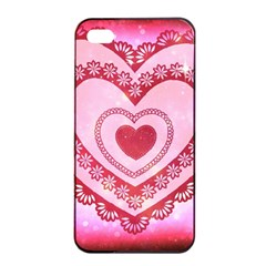 Heart Background Lace Apple iPhone 4/4s Seamless Case (Black)