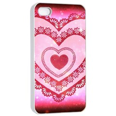 Heart Background Lace Apple Iphone 4/4s Seamless Case (white)