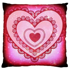 Heart Background Lace Large Cushion Case (one Side)