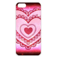 Heart Background Lace Apple Iphone 5 Seamless Case (white)