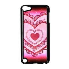 Heart Background Lace Apple Ipod Touch 5 Case (black)