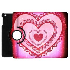 Heart Background Lace Apple Ipad Mini Flip 360 Case