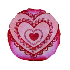 Heart Background Lace Standard 15  Premium Round Cushions