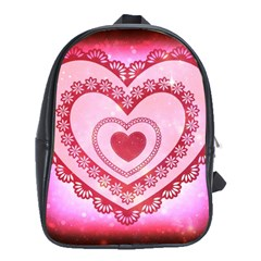 Heart Background Lace School Bags (xl)