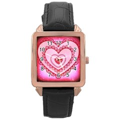 Heart Background Lace Rose Gold Leather Watch