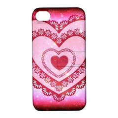 Heart Background Lace Apple Iphone 4/4s Hardshell Case With Stand