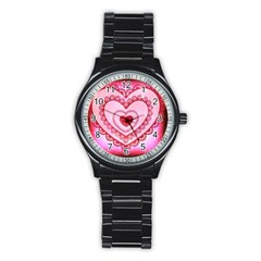 Heart Background Lace Stainless Steel Round Watch