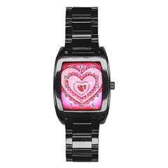 Heart Background Lace Stainless Steel Barrel Watch