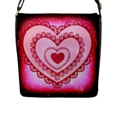 Heart Background Lace Flap Messenger Bag (L)