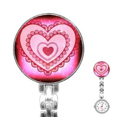 Heart Background Lace Stainless Steel Nurses Watch