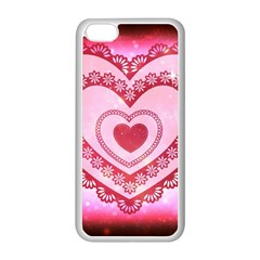 Heart Background Lace Apple Iphone 5c Seamless Case (white)