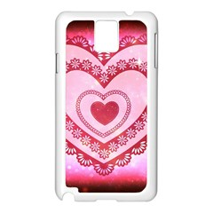 Heart Background Lace Samsung Galaxy Note 3 N9005 Case (white)