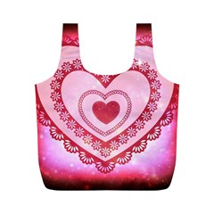 Heart Background Lace Full Print Recycle Bags (M)