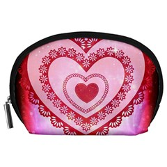 Heart Background Lace Accessory Pouches (large)