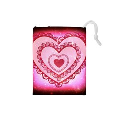 Heart Background Lace Drawstring Pouches (small)