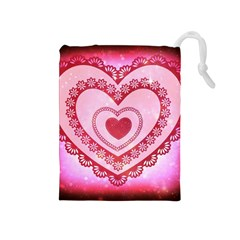 Heart Background Lace Drawstring Pouches (medium)