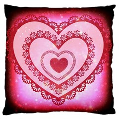 Heart Background Lace Large Flano Cushion Case (Two Sides)
