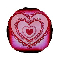 Heart Background Lace Standard 15  Premium Flano Round Cushions