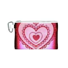 Heart Background Lace Canvas Cosmetic Bag (S)