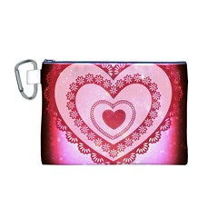 Heart Background Lace Canvas Cosmetic Bag (M)