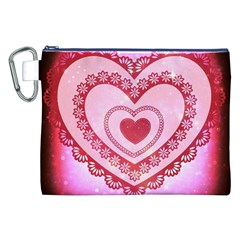 Heart Background Lace Canvas Cosmetic Bag (XXL)