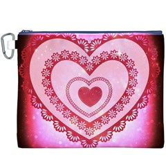 Heart Background Lace Canvas Cosmetic Bag (XXXL)