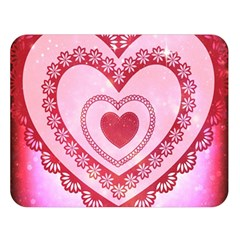 Heart Background Lace Double Sided Flano Blanket (Large)