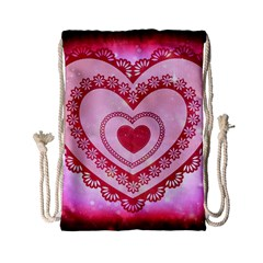 Heart Background Lace Drawstring Bag (small)