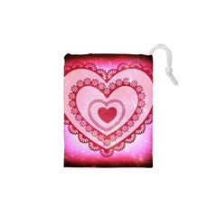 Heart Background Lace Drawstring Pouches (XS)