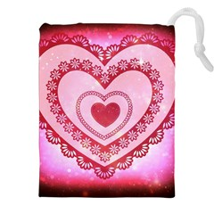Heart Background Lace Drawstring Pouches (xxl)