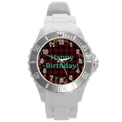 Happy Birthday! Round Plastic Sport Watch (L)