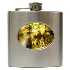 Grunge Texture Retro Design Hip Flask (6 Oz)