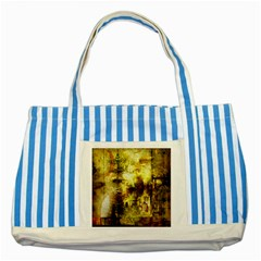 Grunge Texture Retro Design Striped Blue Tote Bag