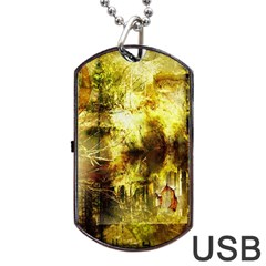 Grunge Texture Retro Design Dog Tag USB Flash (Two Sides)