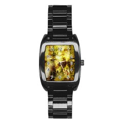 Grunge Texture Retro Design Stainless Steel Barrel Watch