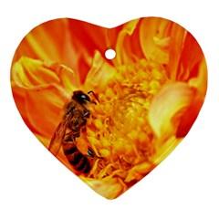 Honey Bee Takes Nectar Ornament (Heart)