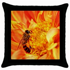 Honey Bee Takes Nectar Throw Pillow Case (Black)