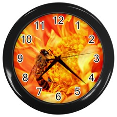 Honey Bee Takes Nectar Wall Clocks (black)