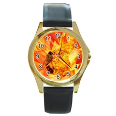 Honey Bee Takes Nectar Round Gold Metal Watch