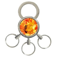 Honey Bee Takes Nectar 3-Ring Key Chains